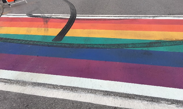 Rainbow crosswalk in Clarington vandalized with tire tracks
