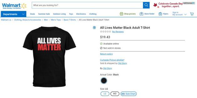 Walmart Canada slammed for 'All Lives Matter' T-shirts