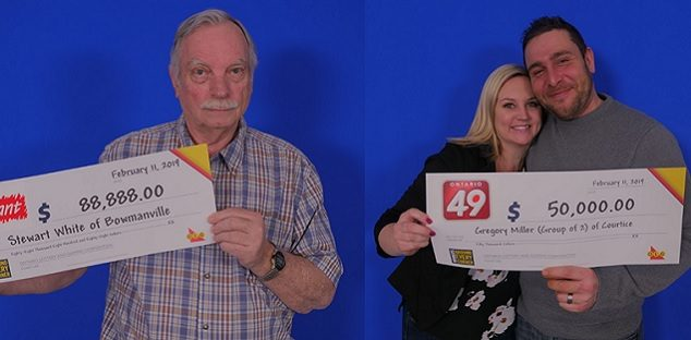 A couple of Clarington residents pick up big lotto wins